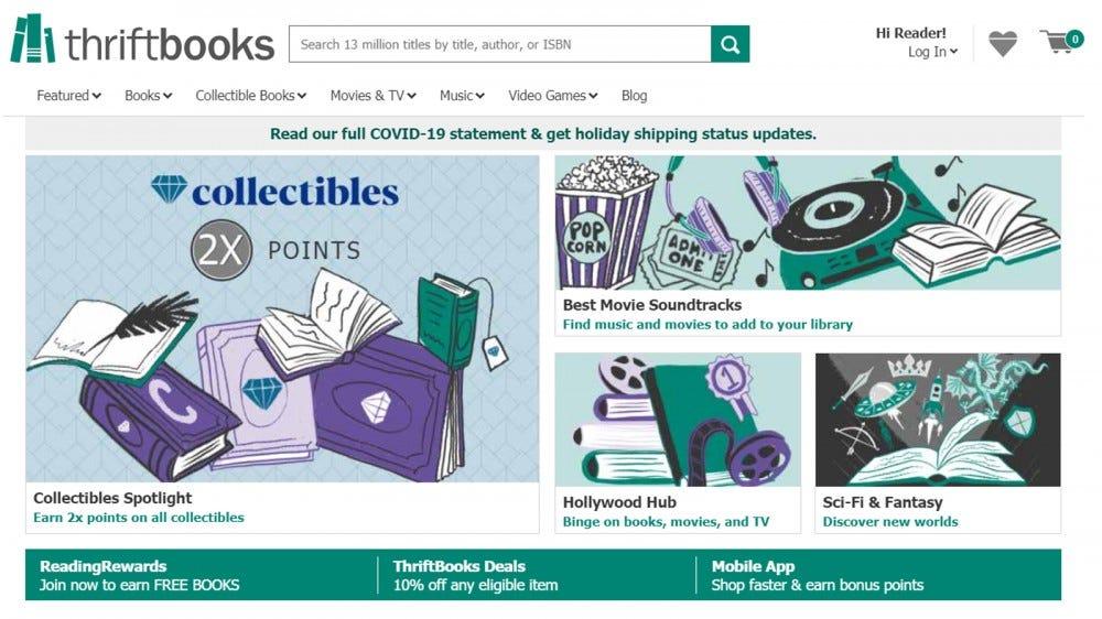 ThriftBooks kedvezményes új és használt könyvekhez