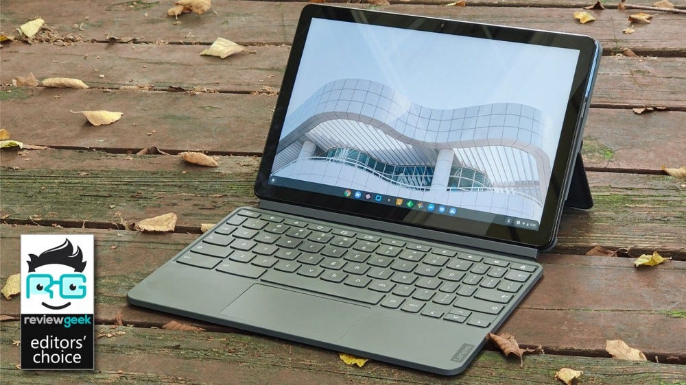 Lenovo IdeaPad Duet on wooden deck with leaves