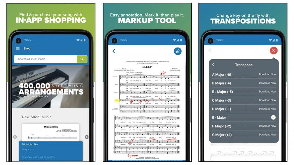 Musicnotes app for buying, commenting and viewing notes