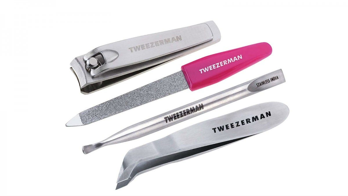 Tweezerman nail clippers, nail file, cuticle pusher, and cuticle trimmers.