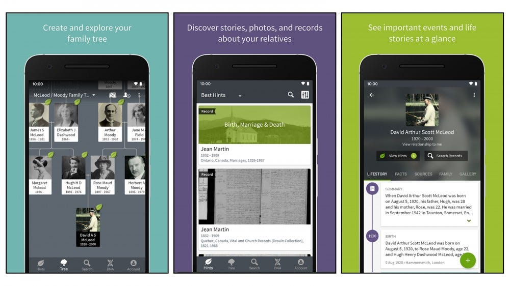 Ancestry Family History mobile app screenshots for creating files, logging data and photos
