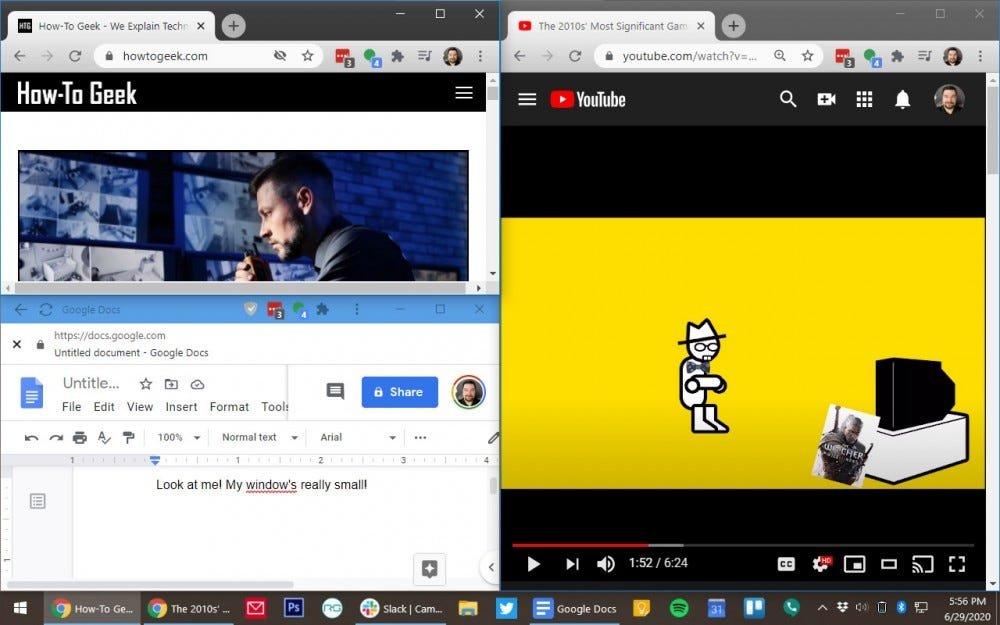 Chrome and Google Docs on one side of the screen, YouTube on the other.