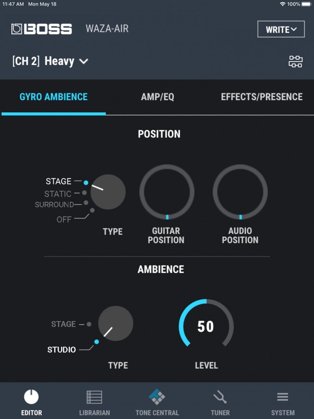 The gyro setting in the Waza-Air app