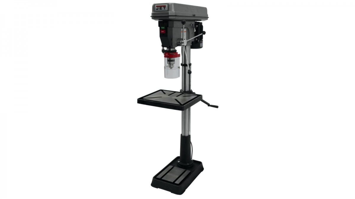 A dark grey JET drill press with cranking table.