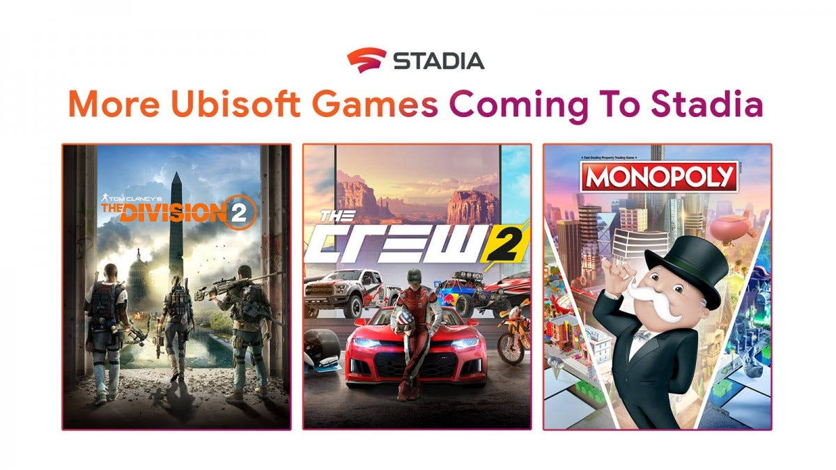 "A Stadia announcement featuring artwork from ""The Division 2,"" ""The Crew 2,"" and ""Monoply."""