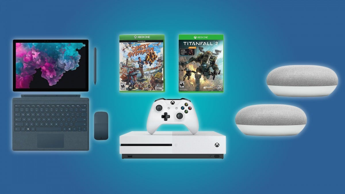 The Surface Pro 6, the Microsoft Xbox One S Bundle, and the pair of Google Home Minis