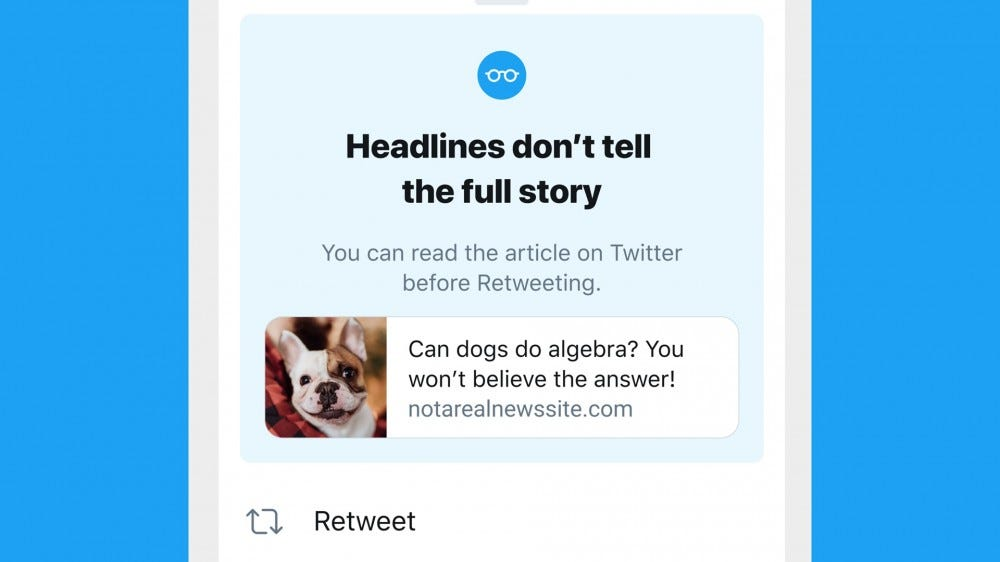 The new Twitter prompt that suggests reading an article before retweeting.