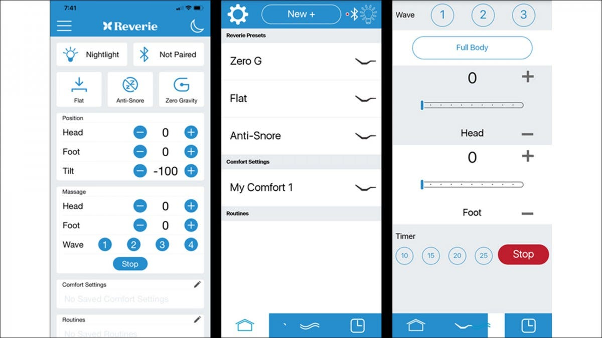 Three app screens, one with full controls gathered together, two with broken navigation buttons.