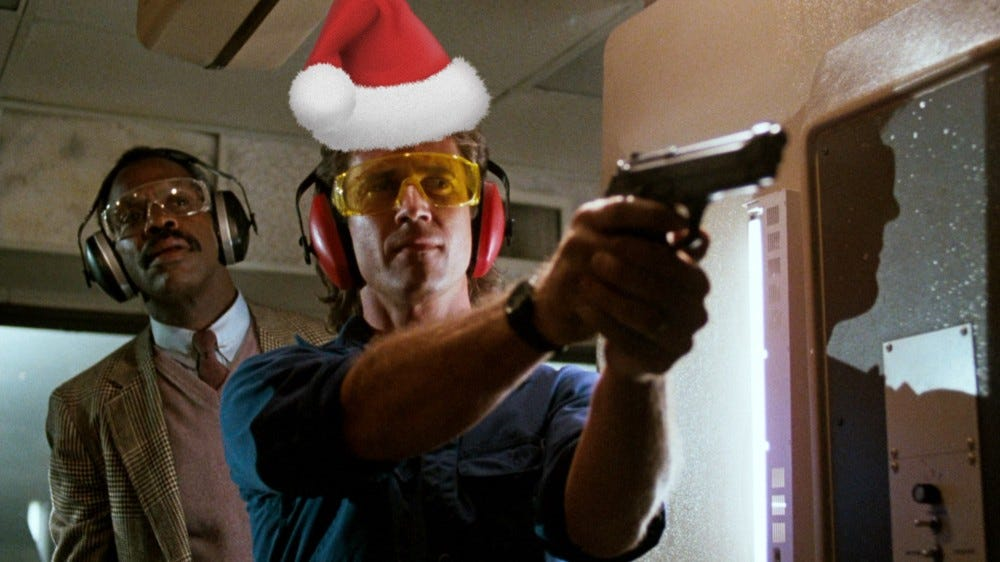 Lethal Weapon still, with Santa hat,