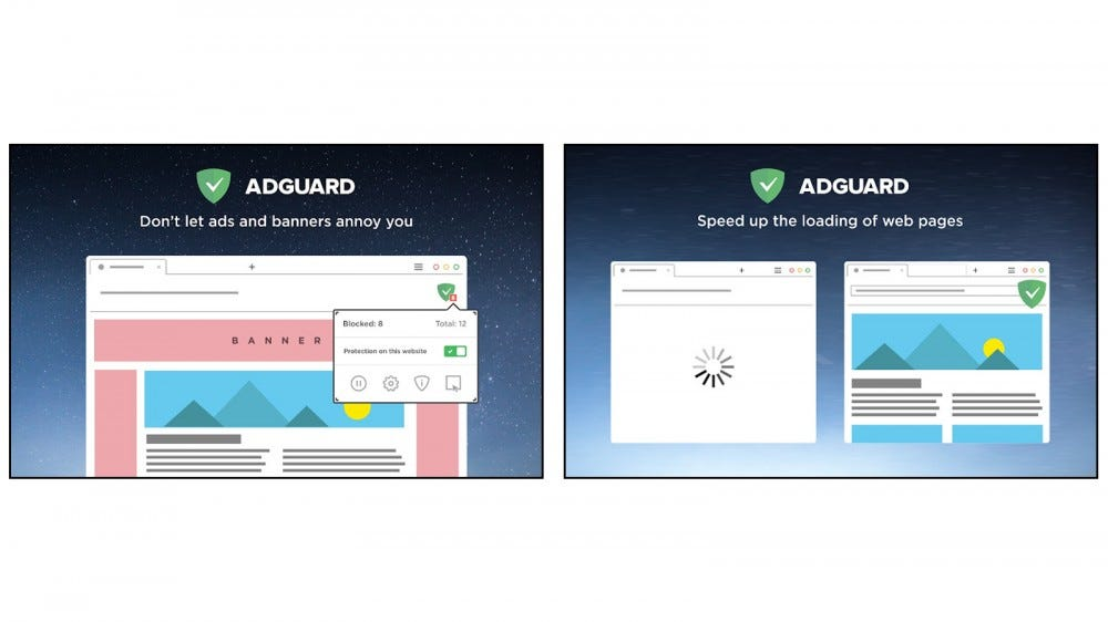 AdGuard AdBlocker features to block ads and accelerate page loads