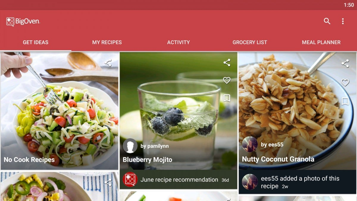 The Big Oven Android app with several healthy recipes.