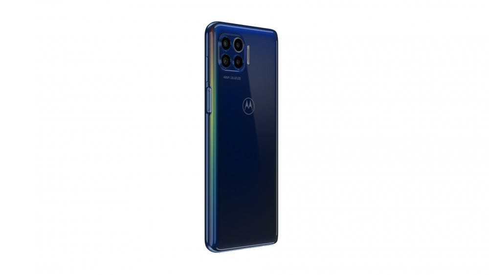 The backside of the Motorola One 5G camera showing 4 lenses.