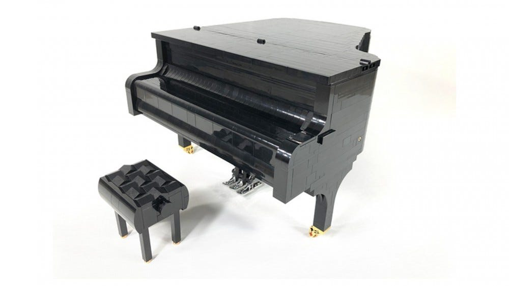 LEGO Working Concert Grand Piano with Bench and Accurate Mechanics