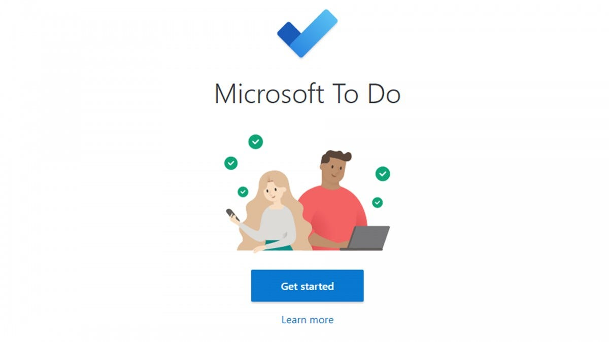 An illustration of people using the Microsoft To Do app.
