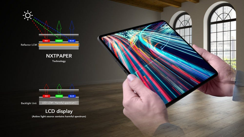 A model of NXTPAPER display that shows a bright screen in bright sunlight.