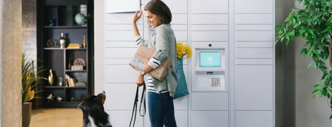Amazon Locker Lieferung kommt zu einem Apartment-Komplex in Ihrer Nähe